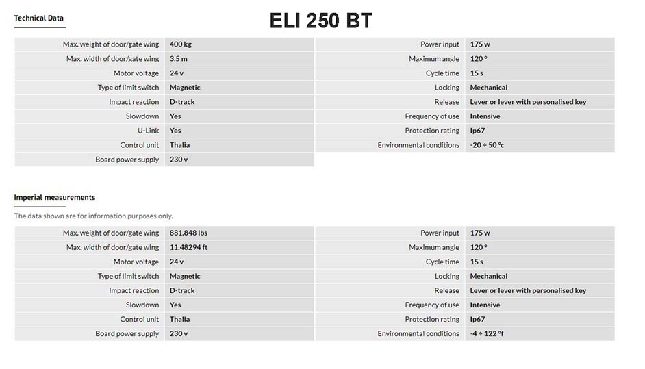 Eli 250 BT Tech Data